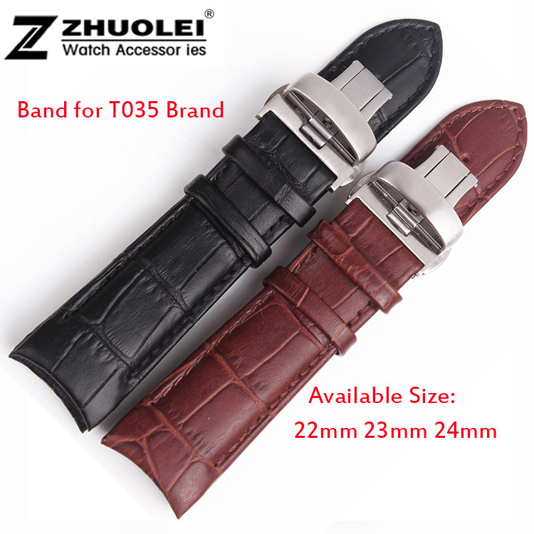 22mm 23mm 24mm Brown Alligator Pattern Genuine Leather Watch Bands Straps Bracelets Brushed Steel Butterfly Clasp For T035 все цены