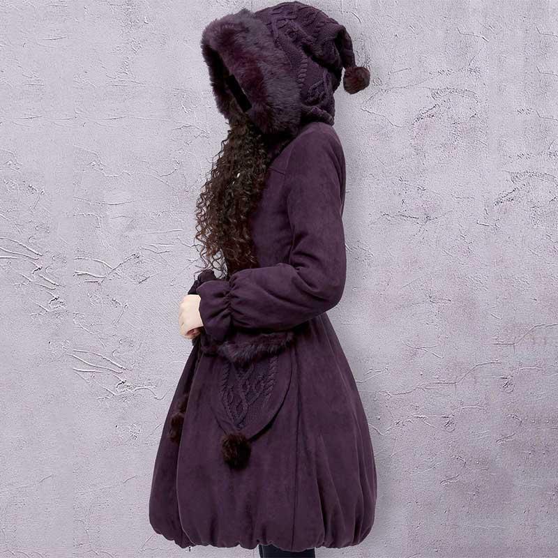 ARTKA, Женское зимнее повседневное Стеганое пальто из кроличьего меха, большая толстовка с капюшоном, вязаный пояс, однотонная хлопковая теплая верхняя одежда, стеганое пальто, MA10621D
