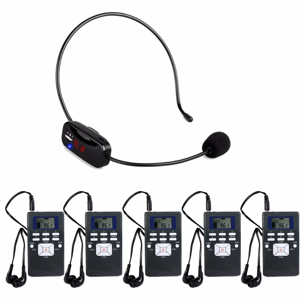 Wireless Tour Guide System Voice Transmission System Portable For Church Meeting Training 1 FM Transmitter + 5 Receiver Y4430A