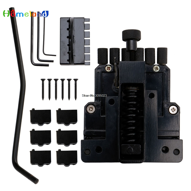 Black 6 String Saddle Guitar Tailpiece Tremolo Bridge For Headless Guitar Replacement Jun30_30 new style 6 string saddle headless guitar bridge tailpiece with worm involved string device