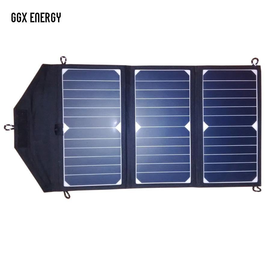 GGX ENERGY Sunpower Solar Cells 21Watt Portable Folding Solar Panel Array Charger DC Out for 18V/12V Battery, USB 5V for Phones-in Solar Cells from Consumer Electronics    1