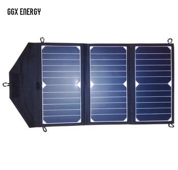 GGX ENERGY Sunpower Solar Cells 21Watt Portable Folding Solar Panel Array Charger DC Out for 18V/12V Battery, USB 5V for Phones
