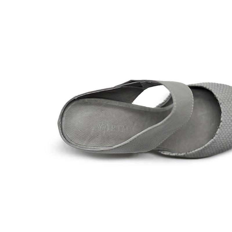 À Main En gris Mode Fermé Chaussures Femmes Bout Gris La Habillées Sandales Orteils Pointu Noir Confort Chaussons Artmu Cuir Véritable Pour vqxwR7nZ