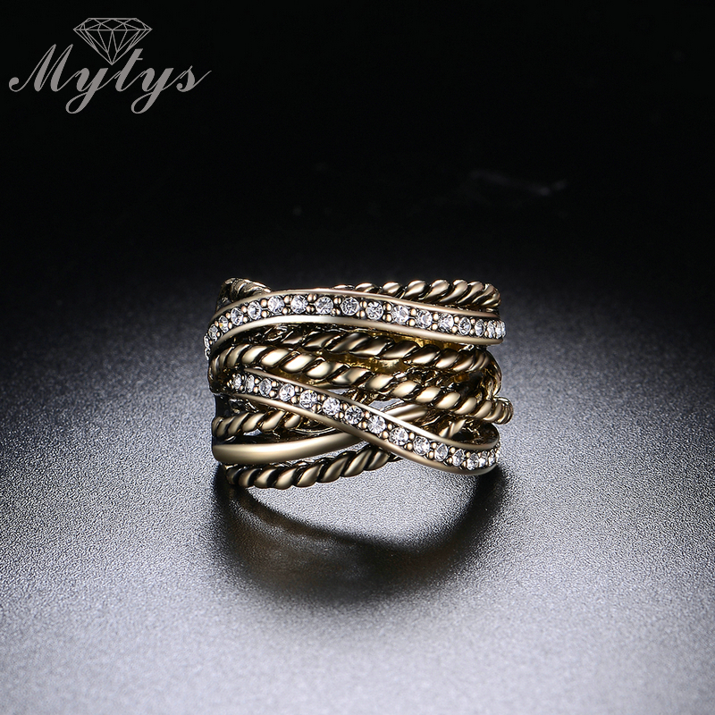Mytys Retro Old Copper Chunky Ring Line Twist Geometrisk Invisible - Märkessmycken - Foto 5