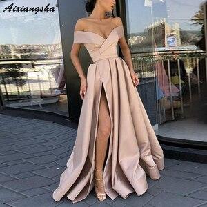 Image 4 - Elegant Uit De Schouder Rode Party Gown Satijn Sexy Prom Dress Sky Blue Hoge Split Plus Size Prom Dresses Lange vestido Fiesta
