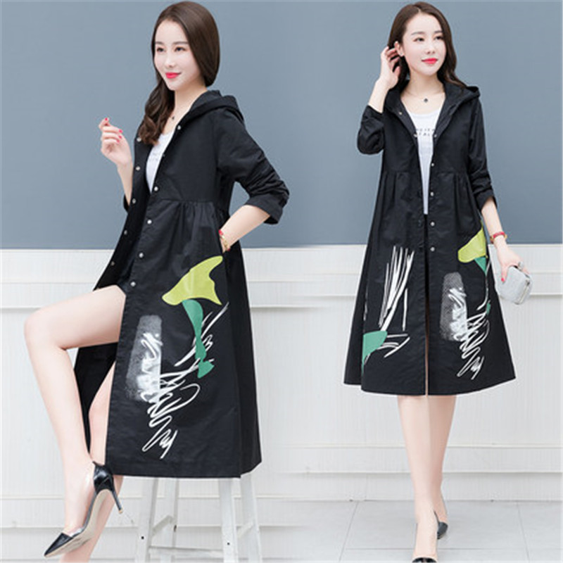 2019 Spring Autumn New Women   Trench   Coat Women Single-breasted Print Hooded Windbreaker Femme Outerwear X864