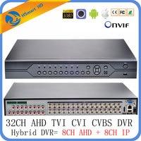 32CH DVR 6 в 1 коаксиальный CVI TVI AHD видеонаблюдения Регистраторы систем гибридного NVR для 8CH 960 H AHD + 8CH IP Поддержка USB Wi Fi