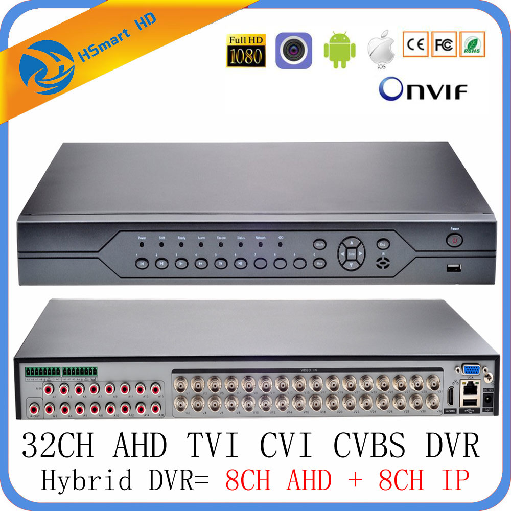 32CH DVR 6 en 1 coaxiale CVI TVI AHD Surveillance enregistreur vidéo systèmes hybride NVR pour 8CH 960 H AHD + 8CH IP Support USB Wifi