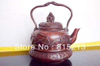 Tetera wang 000150 tibetana budista con diseño de dinero exquisito Buda estatua bronce mantequilla Estatuas y esculturas Hogar y jardín -