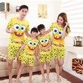 Conjuntos de Pijama família (Tshirt + Calça) Mãe Filha Filho Pai Spongebob Moda Verão Curto Pijama Família Roupas Combinando Outfits