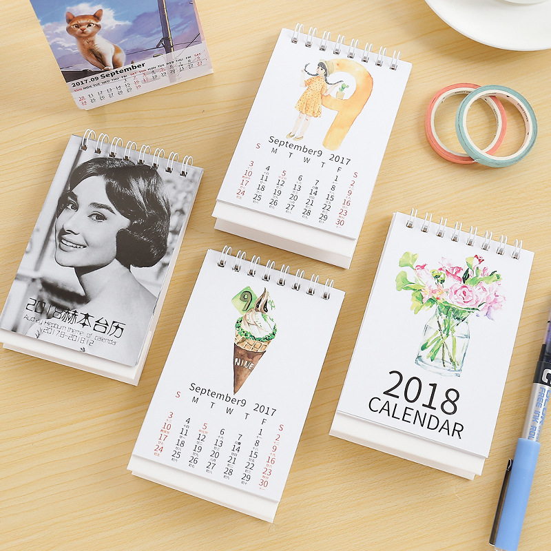 Year 2018 Mini Ice Cream,Hepburn,Girl,Rabbit  Desktop Paper Calendar Dual Daily Scheduler Standing Table Planner Yearly Agenda
