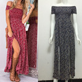 Summer Spring Women Sexy Print Dress Holiday Bohemia Beach Printed Long Strapless Party Dresses  LSQ-8-37