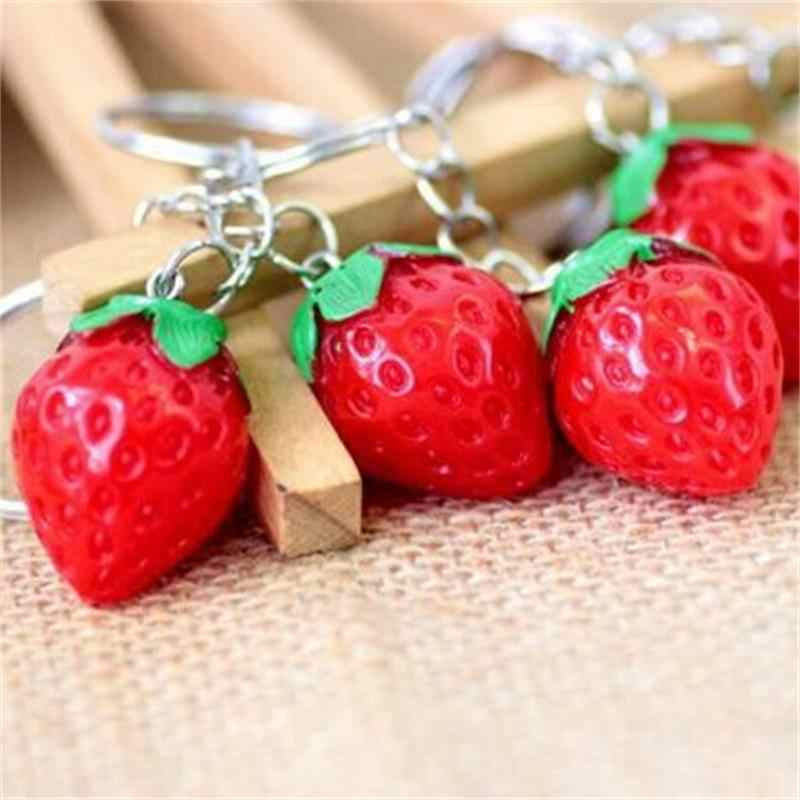 ¡1 pieza! LLavero de fruta pequeño llavero de fresa lindo llavero para mujeres joyería niñas regalo niños/amigos regalo