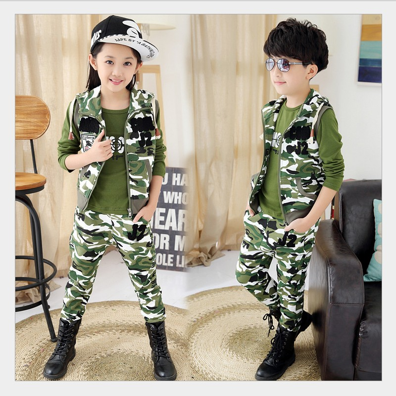 Child Camouflage Clothing 3 Pcs 2015 Children's Fashion Suit for Boys&Girls Spring&Autumn Cotton Camo Boys Sports Set 2015 summer brand baby boy set children three piece suit set 3pcs girls new cotton spring casual clothing child year suit 3 pcs