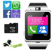 Gv18 smartwatch bluetooth smart watch para android ios teléfono nfc sim soporte de tarjeta tf 1.3 m cámara mp3 twitter, facebook, whatsapp