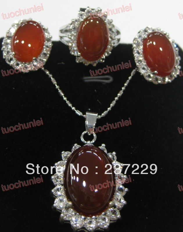 free shipping>>> Wholesale price Fast SHIPPING aCharming Red Natural sGem inlay Lucky Pendants Necklace Earring Ring Set (A0511)