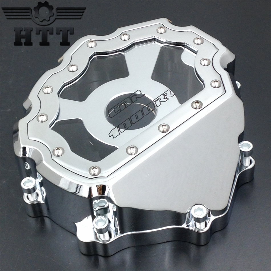 Aftermarket free shipping motorcycle parts Engine Stator cover see through  for Honda CBR1000RR 2008-2013 CHROME Left side engine cover set with chrome plated pull starter cylinder cover side cover screws free shipping 85108