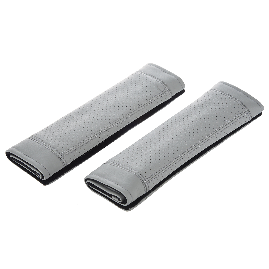 2Pcs PU Leather Car Seat Belt Shoulder pads Cover gray