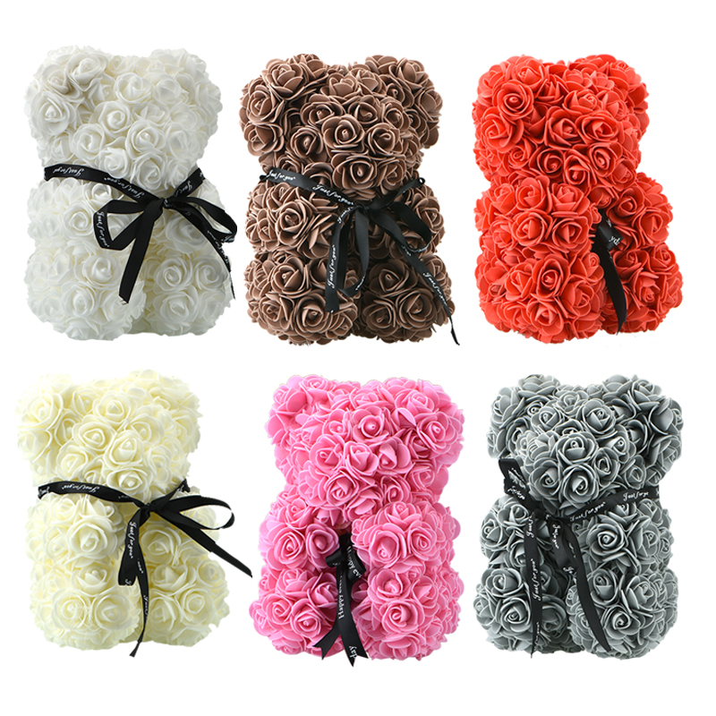 Small Bear Roses in US Warehouse Teddi Bear Rose Flower Artificial Gifts for Women Valentines Gift