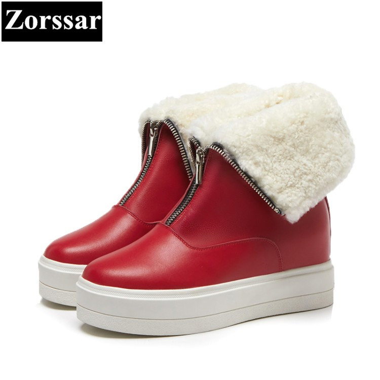 {Zorssar} 2017 NEW winter plush Womens Boots Genuine Leather platform High heels Mid-Calf snow Boots fashion Casual women shoes hot genuine leather women artificial rabbit fur snow boots high platform ladies wedges heels mid calf boots suede rivets shoes