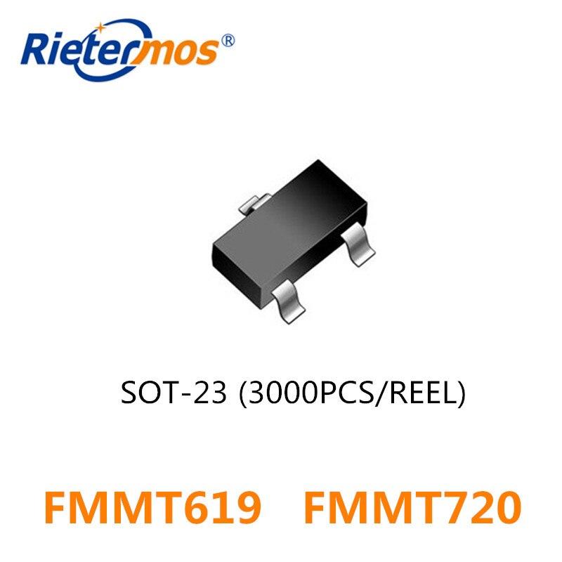 3000PCS  FMMT619 619  FMMT619TA  FMMT720 720   FMMT720TA SOT23 SOT-23