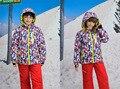 Зимние Мальчики Девочки Лыжный Костюм Ветрозащитный Камуфляж Дети Спортивные Куртки + Нагрудник Брюки 2 шт. детская Одежда Наборы