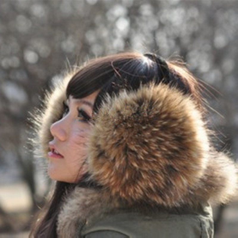 Real Fur Fur EarmuffsAuthentic Raccoon Fur Earmuffs Super 2019 Full Leather Fur Ear Ear Package