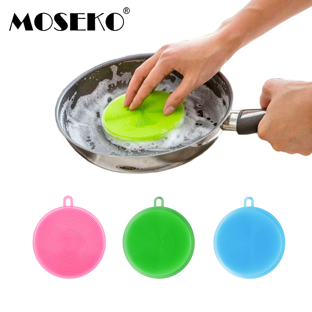 MOSEKO Magic Cleaning Brushes Silicone Dish Bowl Scouring Pad Pot Pan Easy to Clean Wash Kitchen Tools