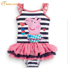 Cute Pig Chid Swimwear 2-7 Year Old Baby Girl Cartoon Children Swimming Suit Summer Bathing Suit One Piece Swimsuit