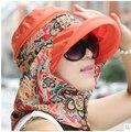Sol shading del sombrero del verano mujer exterior sol sombrero plegable anti ultravioleta grande casquillo de la playa