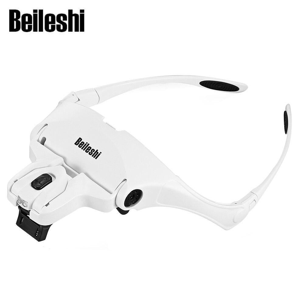 Beileshi 9892B1 1,0X1,5X2,0X2,5X3,5X2 Led lupa gafas diadema intercambiables estilo lupa durable luz LED