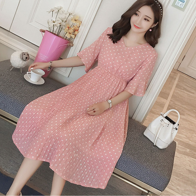 41375c0286 Pregnant Women Midi Pleated Chiffon Dress Pink Polka Dots Summer Pregnancy  Clothes Loose Plus Size Maternity