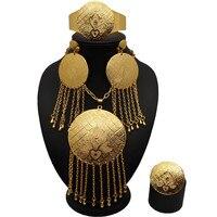 Sexemara gold round chain tassel jewelry set tassel necklace earrings adjustable ring bracelet jewellery Dubai gold jewelry
