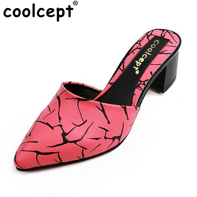 Coolcept Women Shoes Women Sandals Squared Heels Heel Pointed Toe Slip On Slingbacks Slippers Casual Fashion Shoes Size 35-40 xiaying smile summer women sandals casual fashion lady square heel slip on flock shoes pointed toe cover heel lace bowtie shoes