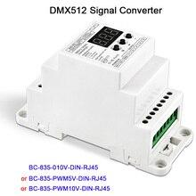 BC-835-010V-DIN-RJ45 5CH led Din Rail DMX512/1990 signal to 0-10V or PWM 10V 5V signal converter DMX512 controller,DC12V-24V