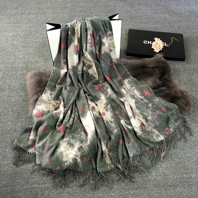 2016 Cashmere Foulard Women Luxury Scarf Star Pattern Tassels Bandanas Winter Warm Scarf New [2127]