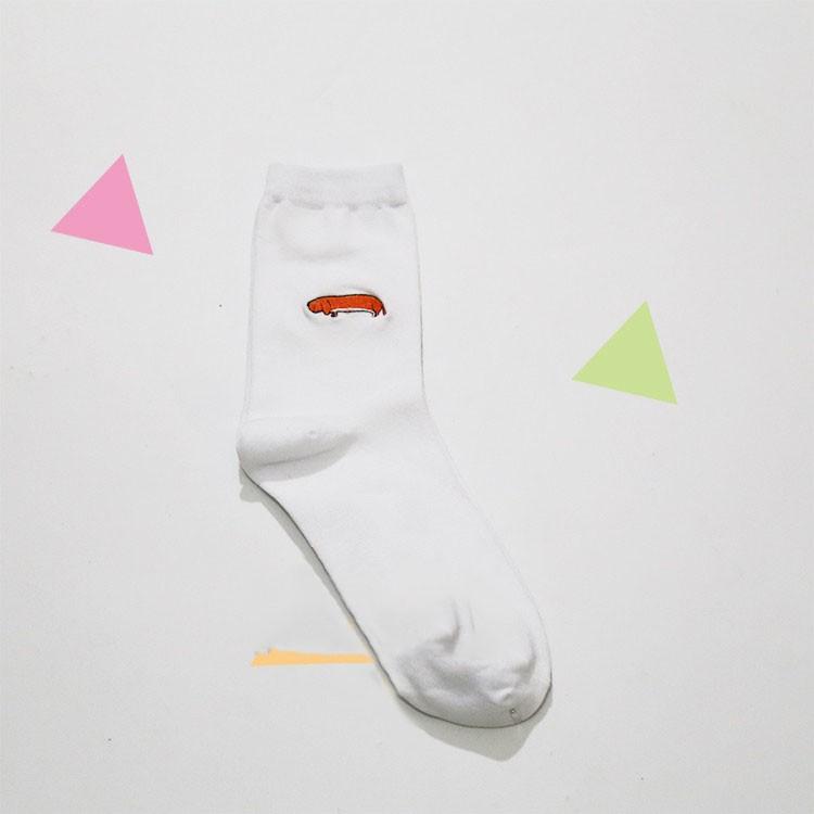 cute animal husky embroidery women cotton white socks lovely dog Jacquard female pure color socks funny kawaii pug meias soks 8