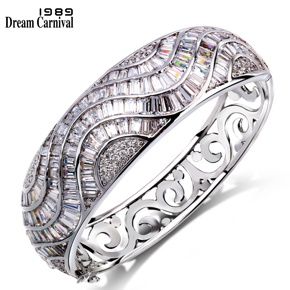 DreamCarnival1989 Full Baguette CZ Zircon Crystals Rich Design Clear Woman Royal Marriage Party Bridal Bangle For Women YB0570 цена