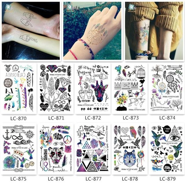 1 Sheet Personalized Funny Tattoo Stickers Waterproof Feather ...