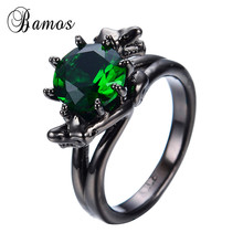 Snake Head Design Fashion Green Women Ring Black Gold Filled