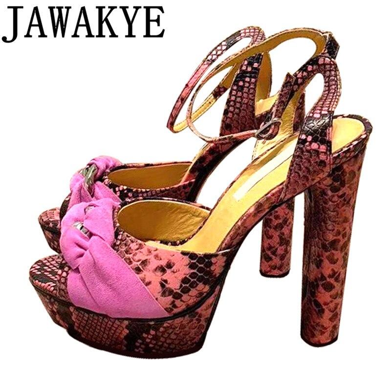 Snakeskin Gladiator Sandals Women Platform High Heels crossover matel chain decor ankle Strap real leather catwalk