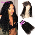 Peruvian Curly Hair With Closure Kinky Curly 360 Lace Frontal With Bundle 360 kinky curly with bundles Queen Hair With Closure