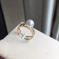 Для женщин подарок Слово стерлингового серебра 925 Настоящее длительный натуральный японский akoya морской воды Pearl Ring, рим символов, 8 8.5 мм