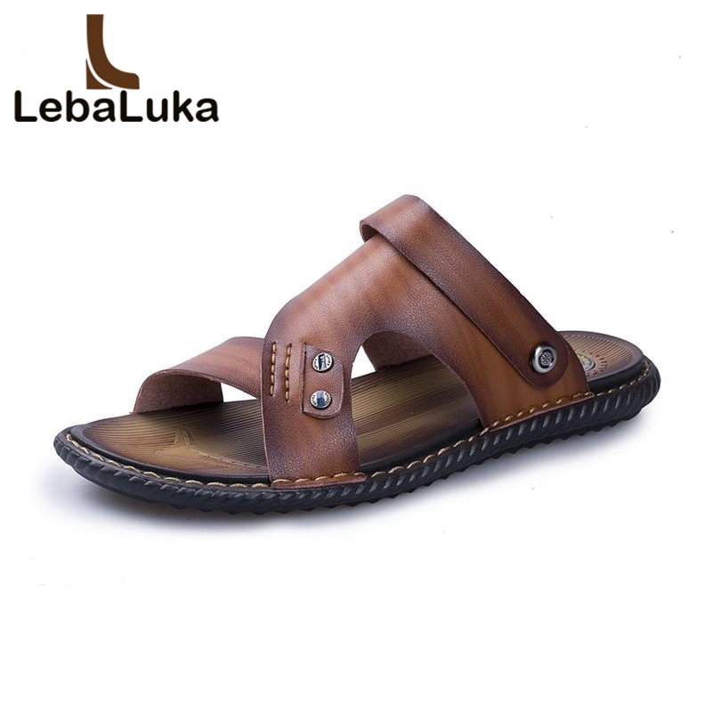 LebaLuka Summer Men Beach Real Leather Sandals Open Toe Handmade Flats Slippers Daily Casual Shoes Male Footwear Size 38-44