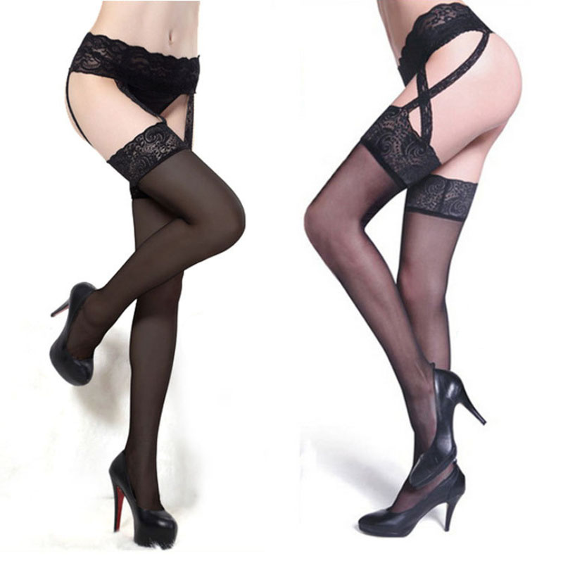 2018 Summer Style Sexy Women Tights Women Transparent Silk Net Lace Garter Stockings Fishnet Pantyhose