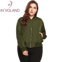 IN'VOLAND Big Size L 4XL Women Bomber Jacket Autumn Casual Baseball Long Sleeve Solid Slim Short Large Coat Outwear Big Size