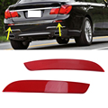2x Red Lens Rear Bumper Reflector Warning Lights Strips Cover For BMW F02 F03 F04 7-Series 730i 740i 750i 760i ALPINA B7 #W096