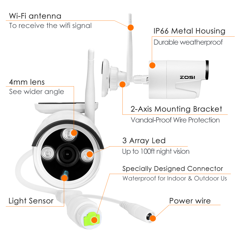Buy Zosi 960p 1280x960 Hd 13mp Wireless Ip Dome Camera Wiring Diagram Network Weatherproof Outdoor Cctv With 100ft30m Night Vision From Reliable