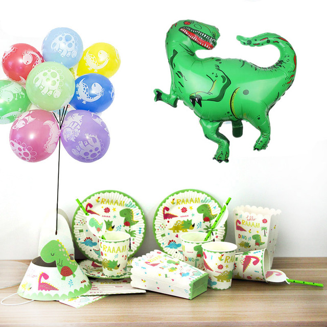 Dinosaur Party Foil Dragon Balloon Disposable Paper Plate Cups First