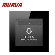 цена на MVAVA new Hotel Inserd Card Switch Luxury Black Crystal Glass 30A High Frequency Sensor Card Wall Switch ,Free Shipping